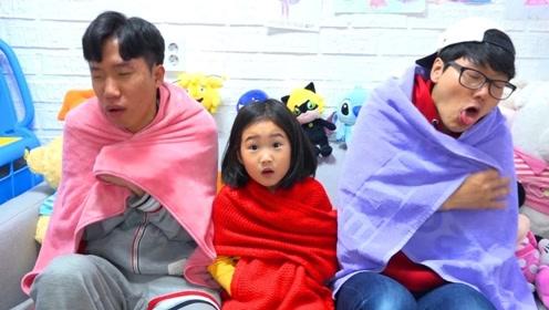 哥哥和爸爸生病了,小萌娃悉心照料,治好家人的感冒!