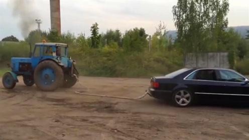 奥迪拔河挑战拖拉机,V8引擎竟然被吊打,一怒玩漂移结果更惨了