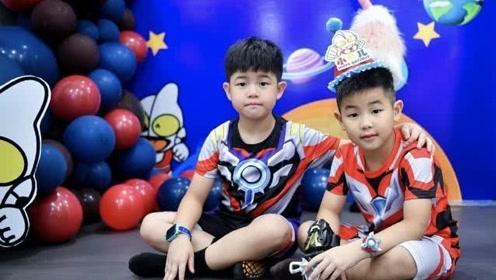 胡可为小鱼儿庆祝5岁生日,尼莫扮奥特曼,活泼帅气