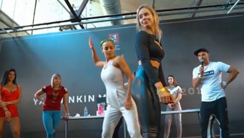 俄罗斯人又举办奇葩比赛,选手全是健身女性,下手太狠场面辣眼!