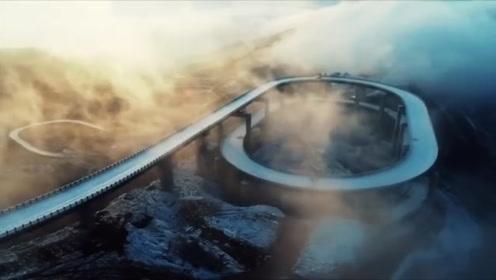 云端上的旅游公路!天龙山三层回旋高架桥 垂直高差达350米
