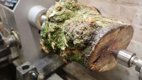 一个木桩落到木匠手中会发生什么?打磨掏空后,成品亮了!