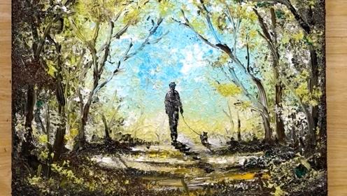 创意艺术画:画森林中散步的主人和狗