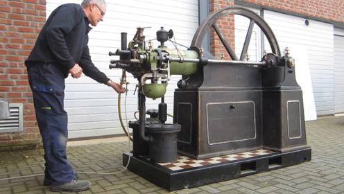 老外珍藏1925年发动机,看看是如何打火的,太经典了!
