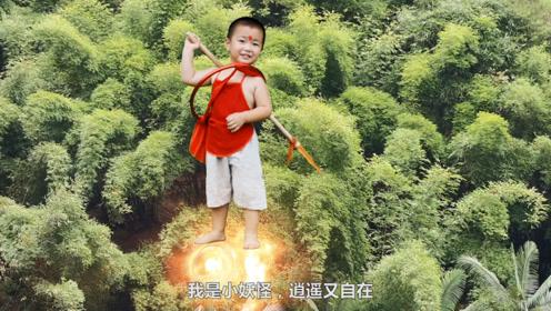 两岁小孩飞天大战恶龙,化身哪吒一枪戳断龙腿,坐地上抱着就啃!