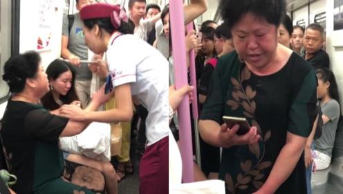 恶人先告状!湖北大妈疑地铁占座动手打人,乘客怒斥:你先动手的