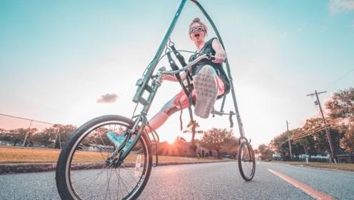"""新型""""吊篮""""自行车!没有脚蹬子,全靠双脚摩擦地面前进!"""