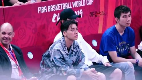 李易峰认真观战中国男篮世界杯首战 饭拍