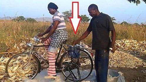 非洲小哥神脑洞,竟用自行车造剥玉米机,成本才10元!来见识下