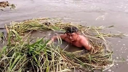 农村小伙太狠了,竟然在池塘里潜水摸鱼,真是凭实力吃鱼啊!