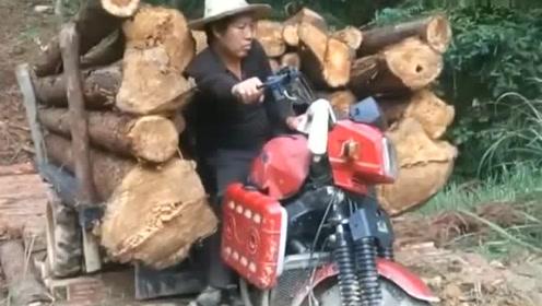 这摩托车是啥牌子的,这动力拖拉机来了都得让三分!