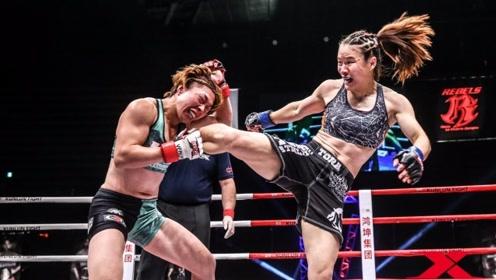 张伟丽40秒KO嚣张国外拳王,拿下中国首个UFC冠军,长脸!