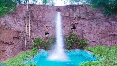"""农村兄弟受不了炎热天气,一怒之下,打造出""""绝世泳池""""!"""