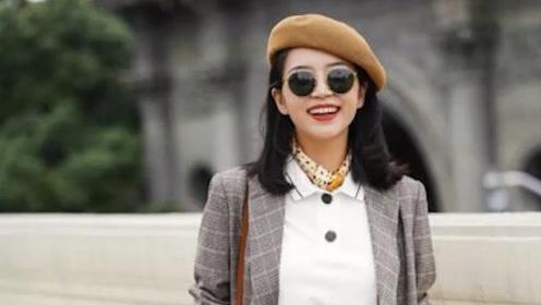 """时尚界最""""漂亮""""女博主,格子西服套装搭配白色T恤,气场全开"""