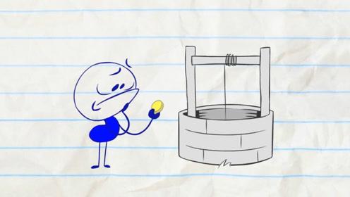 小男孩遇到神奇水井,投入金币就能心想事成,结局太搞笑了!