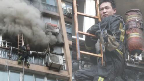 心疼!消防员救火被困4楼阳台,筋疲力尽的他,脸色苍白满头大汗