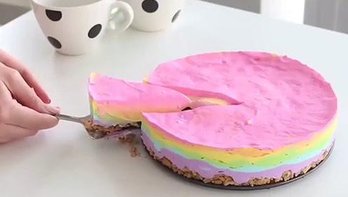 蛋糕何必去店里买,香甜可口七彩蛋糕,你get到了吗!
