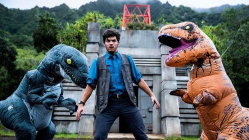 """现实版侏罗纪世界,小伙极速跑酷""""逃生"""",蠢萌霸王龙实力抢镜!"""