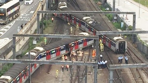 港铁红磡站列车出轨,传有人受伤