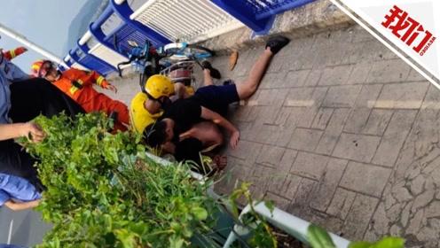 浙江台州消防员假扮外卖小哥 成功救下轻生男子