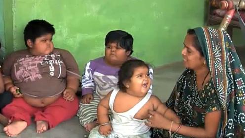 世界上最胖的三姐弟,体重加一起重200多斤,父母直呼养不起