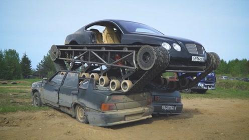 土豪老外把400万宾利车爆改,装上坦克履带,发动后场面太震撼