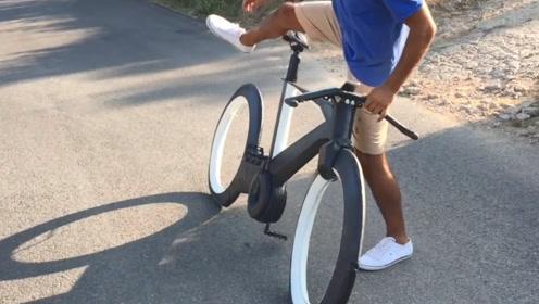 美国发明新型自行车,没有轮条和链条,造型极简又梦幻!