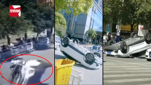 小车突然撞上皮卡翻个四脚朝天,视频拍下惊险瞬间:厉害了我的哥