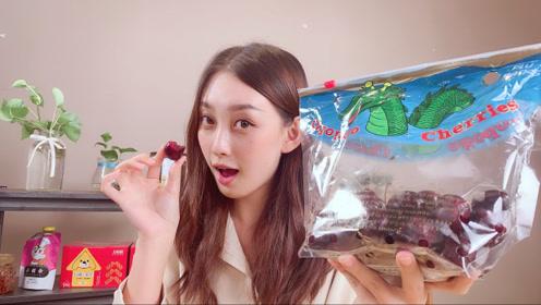 美女试吃2019表白神器车厘子,一口一个,非常好吃的进口水果