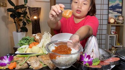 泰国吃播有多奢侈?用2000元的顶级鱼子酱拌饭吃,是个狠人