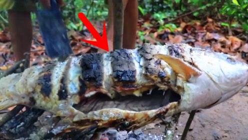 刚抓到的超级大鱼,男子河边生火直接烤了吃,看得我直流口水!