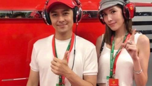 林志颖携夫人陈若仪现身新加坡F1,穿搭白色情侣装,虐遍单身狗
