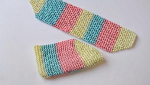 毛线编织中级篇,简单袜套的针织方法,穿起来时尚又保暖!