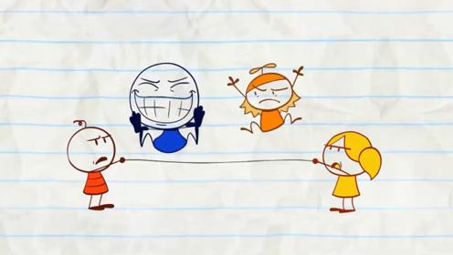 铅笔人童心未泯,玩游戏总是和小朋友争抢,最后作茧自缚
