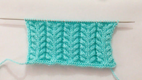 毛线编织初级篇,对襟花纹的针织方法,用来织毛衫非常漂亮!