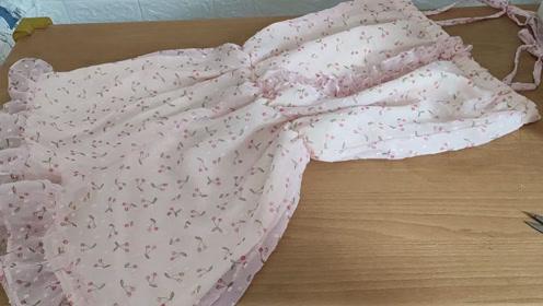 简单易学,不用制版,给自己做的雪纺连体裤成品制作流程2