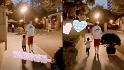 陈赫夜间牵手安安散步 父女二人又跑又跳画面温馨有爱