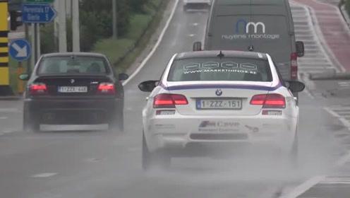 宝马M5 E39,V8发动机,雨天在赛道上疾驰