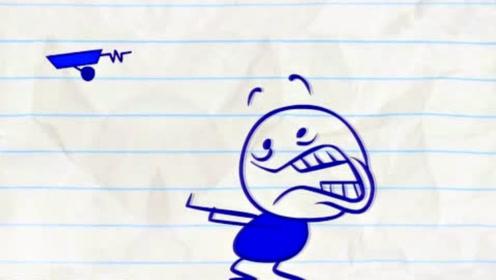 铅笔人小蓝弄坏了小黄的玩具,不料小黄找到怪物报复小蓝,太搞笑