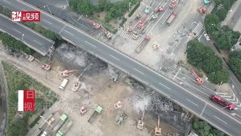 无锡高架侧翻事故 浙视频记者最新航拍
