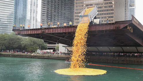将60000只小黄鸭倒入河里,画面非常壮观,镜头记录全程