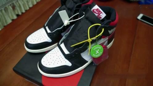 球鞋开箱:莆莆通通的AJ1红勾黑脚趾,对比正品 究竟有什么区别?