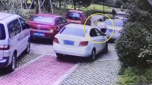 浙江一女司机倒车撞上奔驰,竟下车连踹奔驰屁股8脚