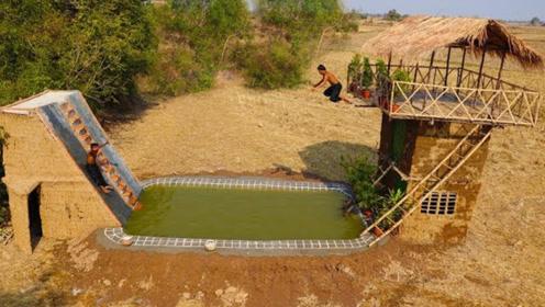 """农村兄弟俩野外建造""""水上乐园"""",竟还有滑梯跳水台,成品简直惊艳众人!"""