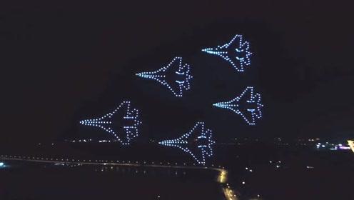 500架无人机空中组成中国航母舰载机起飞,安徽真会玩儿!这也太震撼了