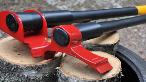 美国65岁大叔发明杠杆斧头,不会被木头卡死,一天能劈8吨木头