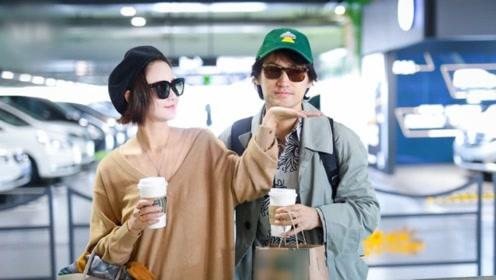 瘦身成功的张歆艺与老公袁弘现身机场,袁弘头上的绿帽子抢镜了