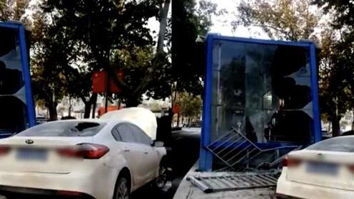 轿车冲撞济南公交站台,撞击后仍在加速,司机被疑酒驾