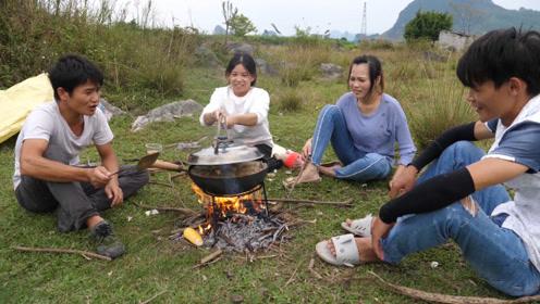 小明搞野美食记,5斤多的大黑鱼这样煮,掀开锅盖那一刻看饿了