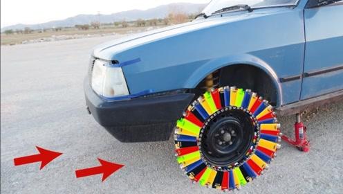 老外将打火机粘在汽车轮胎上,这样的轮胎能跑多远?结果不要太惨!